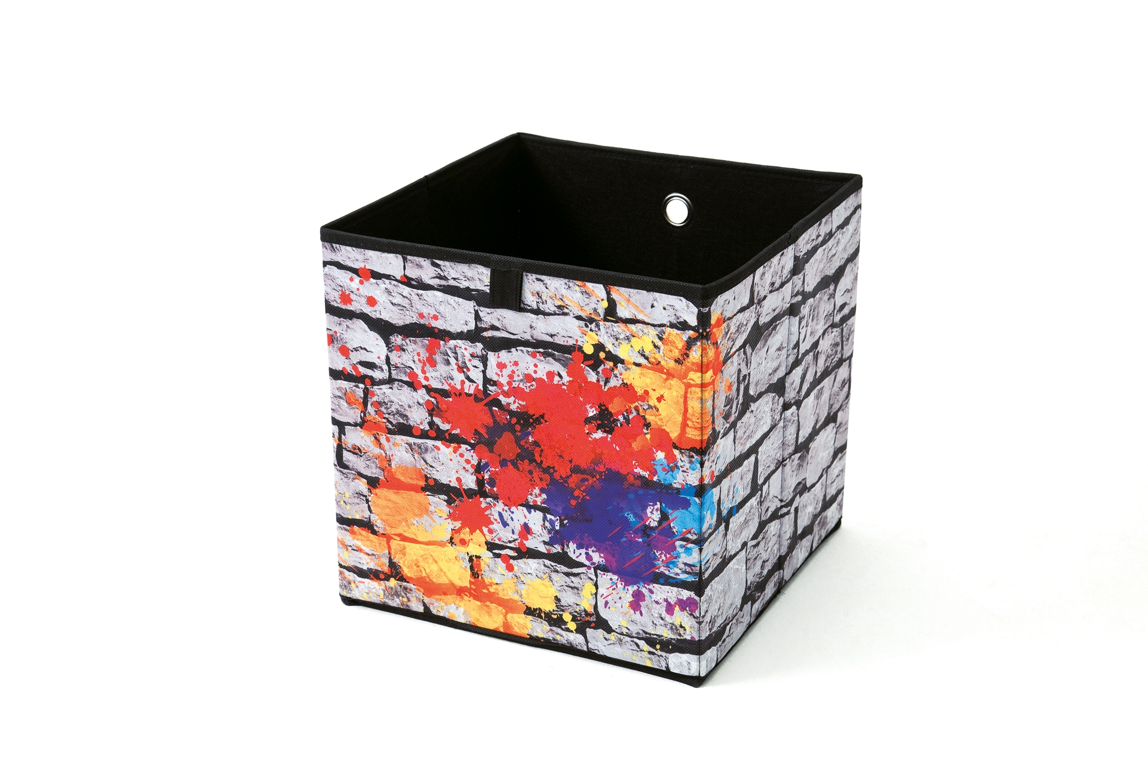 faltbox graffiti grau bunt kunststoffbxhxt 32x32x32 cm ebay. Black Bedroom Furniture Sets. Home Design Ideas