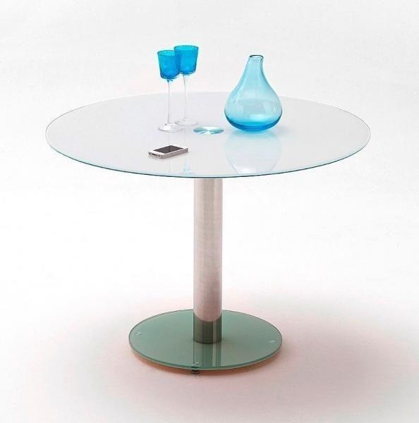 Esstisch Zierlich ~ MCA Esstisch Falko Tisch und Bodenplatte Sicherheitsglas weiß lackiert  eBay