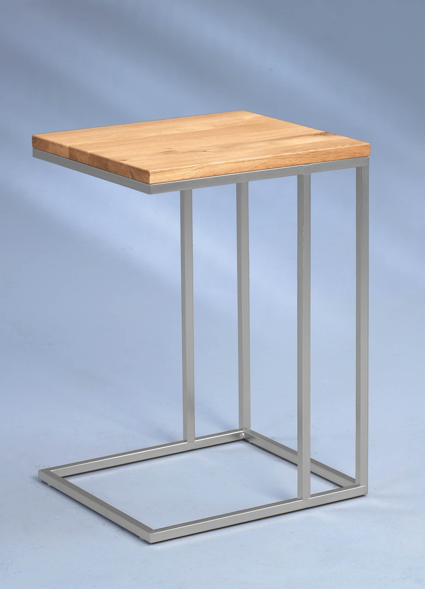 beistelltisch finn 583488 gestell metall edelstahloptik wildeiche massiv ge lt ebay. Black Bedroom Furniture Sets. Home Design Ideas